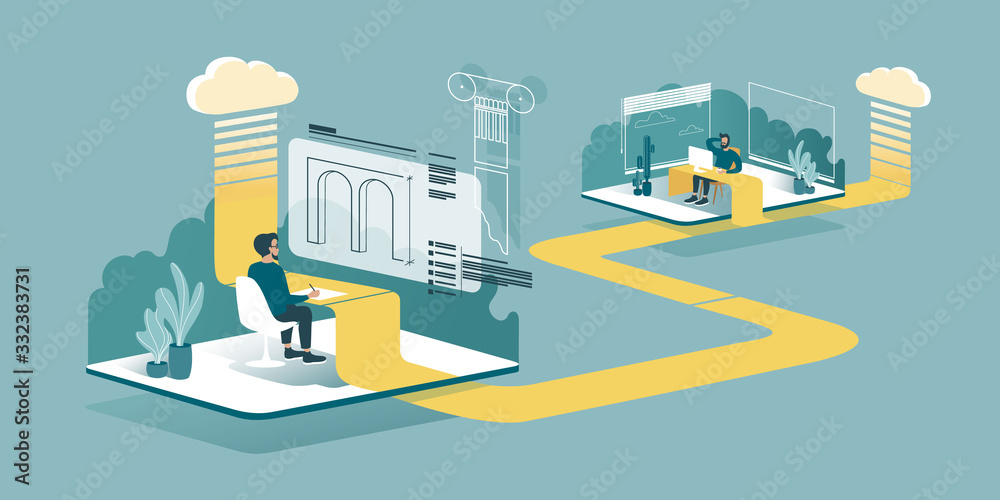 Fototapeta Isometric drawing explaining how cloud computing enhances our ability to learn and work anywhere. Designers or architects work from home through the cloud. Technical vector illustration