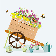 Garden Cart With Flowers And Garden Tools