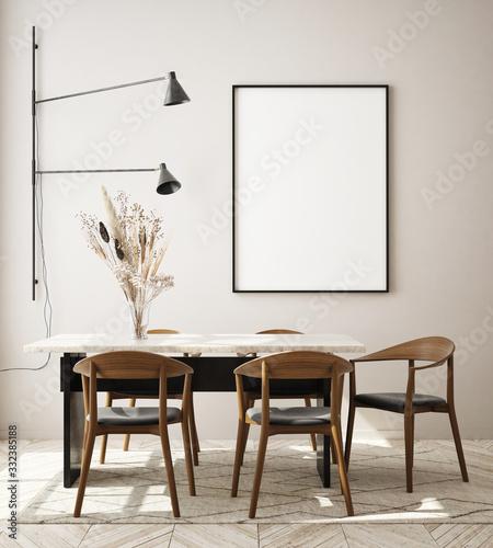 mock up poster frame in modern interior background, living room, Scandinavian st Canvas-taulu