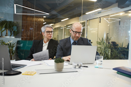 Portrait of two mature business people using laptop while working at table in glass office interior, copy space