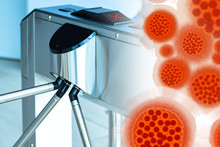 Turnstile Concept - The Entrance To The Virus Is Closed. Concept - Localization Of Viral Disease. Concept - Prevent Infection. Sign Of Prohibition On The Turnstile. Spread Of The Epidemic Is Stopped