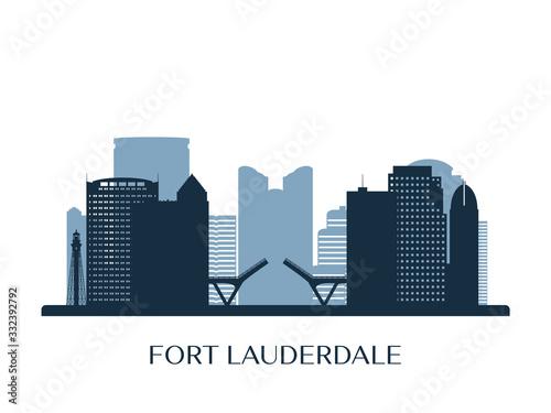 Fotografia Fort lauderdale skyline, monochrome silhouette