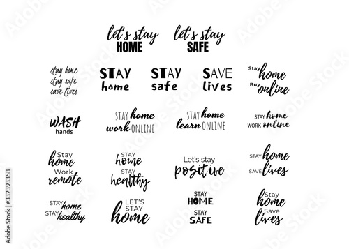 Fotomural Stay home and safe quote set