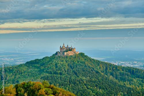 Fototapeta Hilltop Hohenzollern Castle on mountain top in Germany obraz