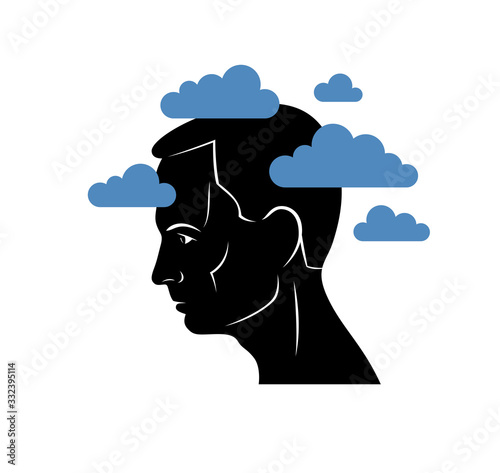 Depression mental health and high anxiety vector conceptual illustration or logo visualized by man face profile and dark clouds over his head Wallpaper Mural