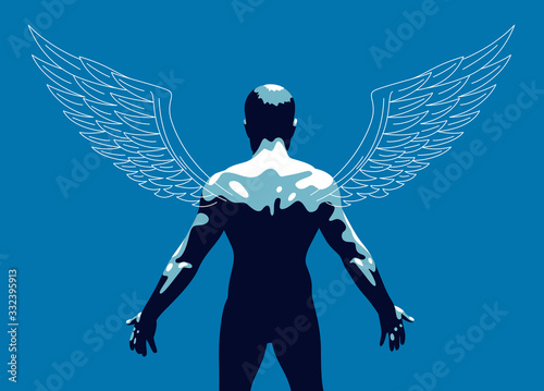 Fotografija Winged angel with muscular strong body back view vector illustration, guardian angel concept, the power of good, strength of good
