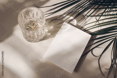 Photo Summer tropical stationery still life scene