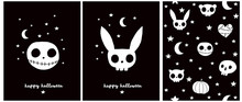 Happy Halloween. Sweet Halloween Party Vector Illustration And Seamless Pattern. White Monster And Rabbit Skull Isolated On A Black Background. Skulls, Stars, Pumpkin And Heart On A Black Layout.