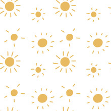 Vector Seamless Pattern With Cute Sun On A White Isolated Background. Yellow Cool Smile. Use In Textiles, Clothing, Stationery, Wrapping Paper, Notepad Covers, Phone Wallpaper