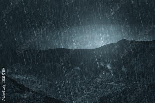 rainy weather dark landscape, mountain view during heavy rain Canvas-taulu