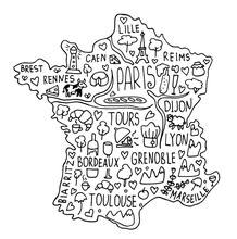 Hand Drawn Doodle France Map. ...
