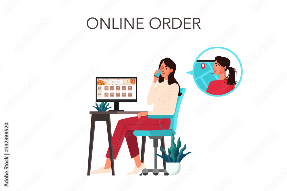 Fototapeta Online order and delivery concept. Woman call to food delivery