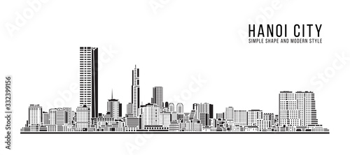 Cityscape Building Abstract Simple shape and modern style art Vector design - Hanoi city