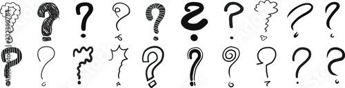 Fotografía question marks interrogation points hand drawn vector illustration