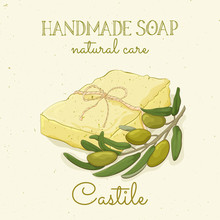 Handmade Castile Soap. Olive Soap. Vector Hand Drawn Illustration. Isolated, With Flowers Lavander And Lettering.