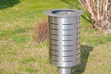 Metal Urn For Mixed Garbage And Cigarette Butts On The Street Of The City. Separate Collection Of Waste