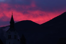 Pink Sky With Church Tower, Bo...