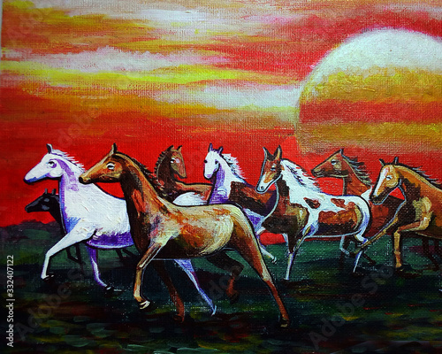 Art painting Fine art Oil color running horse Lucky from Thailand