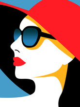 Image Of Women In Sunglasses And A Red Hat