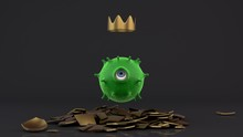 3D Rendering Of A Green Round Virus With One Eye. The Virus Looks At The Golden Crown. An Idea For Medical Illustrations On The Topic Of Coronavirus.