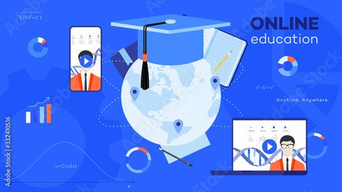 Photo Conceptual e-learning flat vector ilustration.