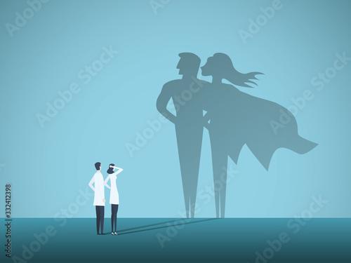 Fotomural Doctors looking at superhero shadow on the wall