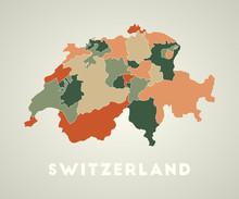 Switzerland Poster In Retro St...