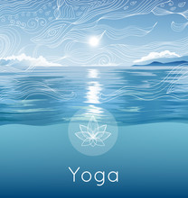 Vector Poster With Blue Sky, Ocean, Sun, Hand Drawn Pattern, Lotus And Text For Yoga Retreat, Fitness Studio, Spa Salon. Bright Illustration With Summer Landscape.