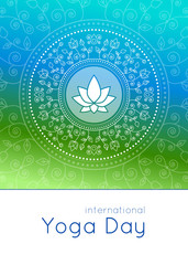 Fototapeta Do Spa Bright vertical banner in gradient colors with floral ornament and lotus for international yoga day.