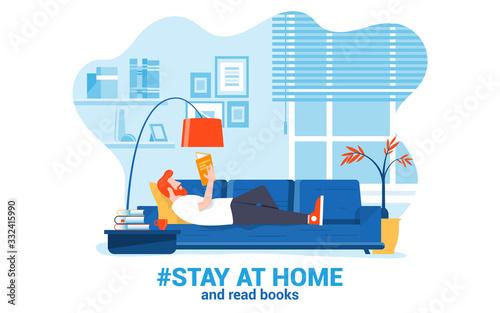 Obraz Flat Modern design Illustration of Stay at Home 3 - fototapety do salonu