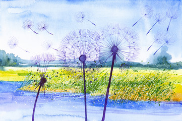 Fototapeta Dmuchawce Watercolor illustration of dandelions and seeds parachutes close up against a lake and forest in the background