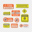Coronavirus sign. Quarantine. Stop coronavirus. Temporarily closed. Coronavirus danger and public health risk disease and flu outbreak. No Infection and Stop Coronavirus Concepts. Isolated Vector Icon