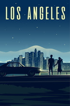 Los Angeles. Man And Woman Look At The Night City. Couple In Love. Cityscape.