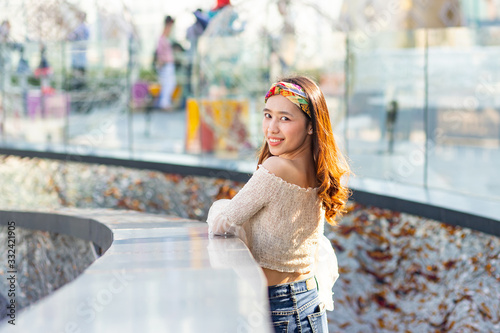 Photographie Beautiful Asian woman with headband smiling beautifully, Portrait of lovely Asia