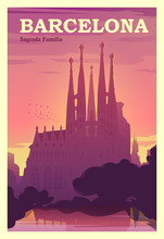Time To Travel. Around The World. Quality Vector Poster. Spain, Catalonia.