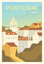 Time To Travel. Around The World. Quality Vector Poster. Lisbon.