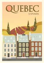 Time To Travel. Around The World. Quality Vector Poster. Quebec.