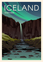 Svartifoss, River. Time To Travel. Around The World. Quality Vector Poster. National Park Skaftafell.
