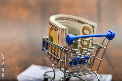 Vászonkép Dollar bills in a trolley, money in a consumer basket over a euro kidney