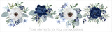 Fototapeta Kwiaty - Vector floral set with leaves and flowers. Elements for your compositions, greeting cards or wedding invitations. Blue and white anemones