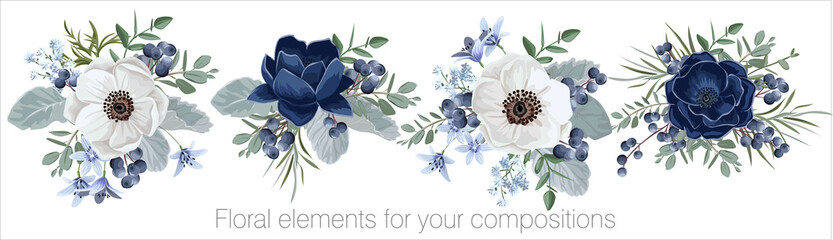 Vector floral set with leaves and flowers. Elements for your compositions, greeting cards or wedding invitations. Blue and white anemones