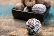 Dried Nutmegs Nuts In Small Bl...