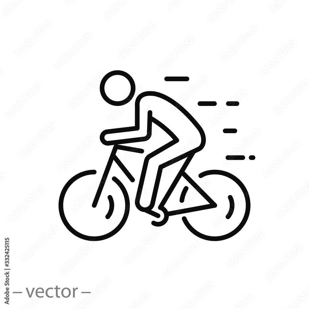 Fototapeta biker icon, ride bicycle, concept travel and tourism, mountain cyclist, thin line web symbol on white background - editable stroke vector illustration eps10