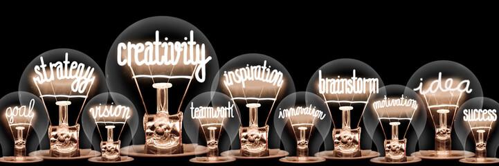 Light Bulbs with Creativity Concept