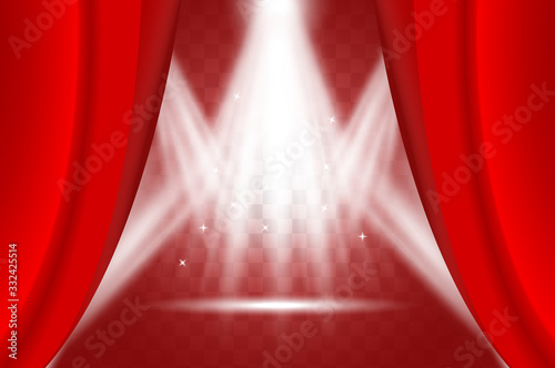 Photo Illuminated scene behind ajar red curtain