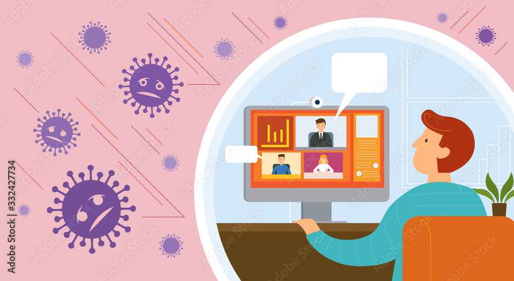 Fototapeta Working from Home, Video Conference, Prevention of Covid-19, Coronavirus Disease Background, Health Care and Safety