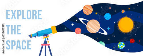 Fotomural Vector creative template with illustration of telescope and planet of solar system on color background