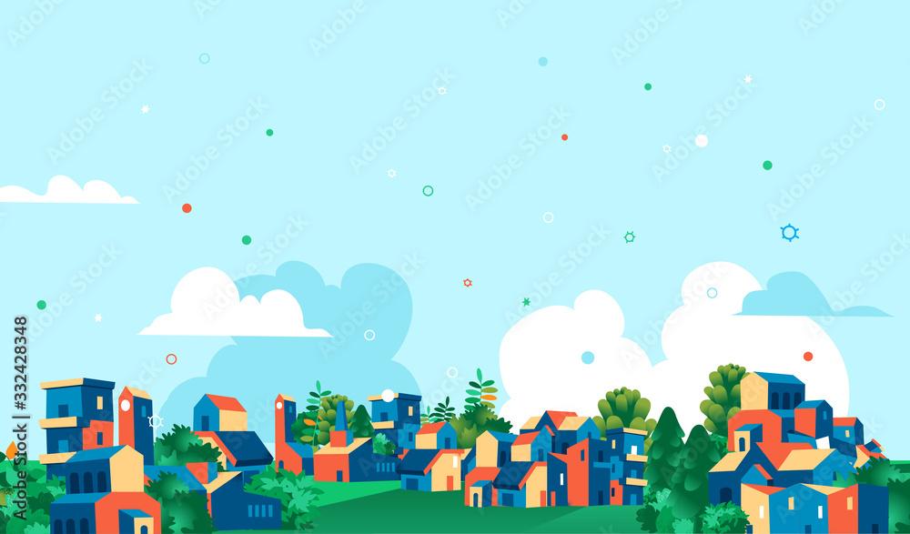 Fototapeta Panoramica città, villaggio con case e alberi verdi, sfondo cielo blu con nuvole.