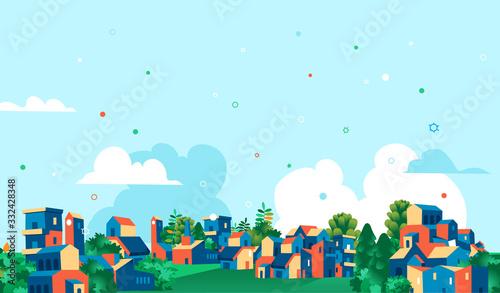 Fotografie, Obraz Panoramica città, villaggio con case e alberi verdi, sfondo cielo blu con nuvole