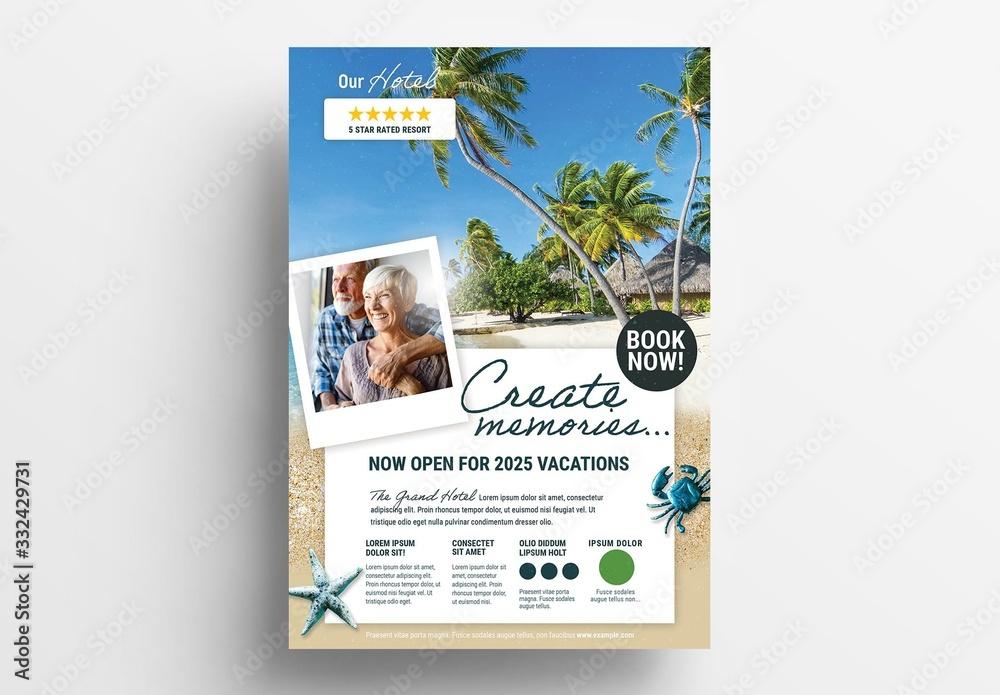 Fototapeta Beach Hotel Advertisement Poster Layout